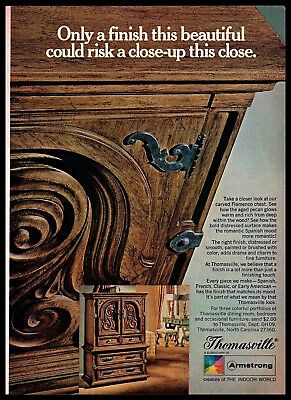 1969 Thomasville Furniture Finish Close-up Flamenco Chest Vintage PRINT AD 1960s