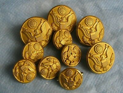 Set of Army gold Eagle buttons for dress uniform           (LOC = A3)