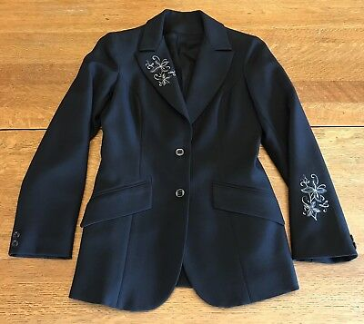 H Bar C Ranchwear Womens Vintage Black Embroidered Fitted Western Blazer Jacket