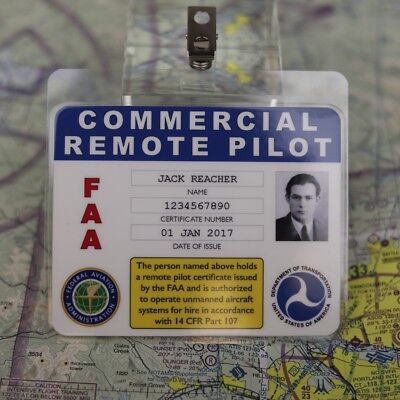 FAA sUAS Drone Commercial Remote Pilot Badge with Your Name / Photo / Cert. No.