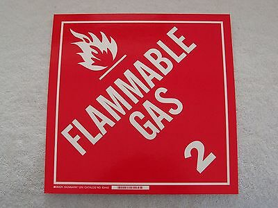 """DOT Vehicle Safety Placard FLAMMABLE GAS 2 - 10 3/4"""" Polycoated Tagstock"""