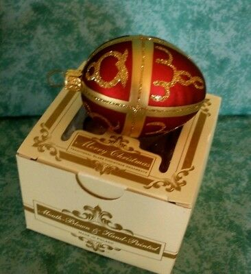 "New!!~Burgundy Red & Gold Egg Shaped Ornament~Mouth Blown~2-1/2""~Poland"