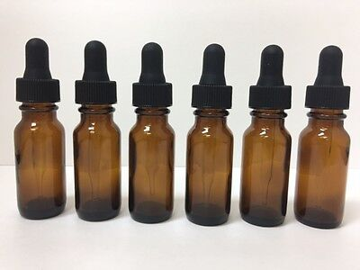 6 - 1/2 Oz Amber Glass Bottle with Glass Eye Dropper (15ml) - Pack of 6, New