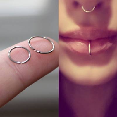 Fake Nose Ring Septum Ring Hoop Cartilage Tragus Helix Small Thin Piercing UK