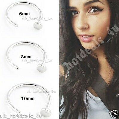 Extra Small Surgical Steel Silver Open Nose Ring Hoop Rose Gold Cartilage Ring