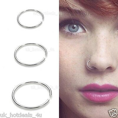 Surgical Steel Thin Small Silver Nose Ring Hoop 0.6mm Cartilage Piercing Stud