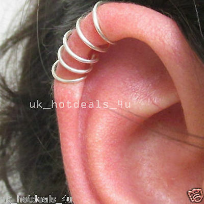 Surgical Steel Thin Silver Cartilage Ring Cuff Nose Stud Helix Nose Ring Hoop