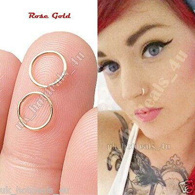 Extra Small Rose Gold Nose Ring Hoop 0.6mm Cartilage Piercing Silver Helix Ring