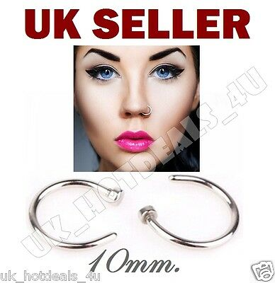 Sterling Silver Thin Small Silver Open Nose Lip Eyebrow Ring Hoop 10mm Piercing