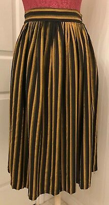vintage 1940's skirt, black gold and grey stripe, W 29