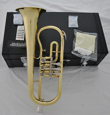 TOP JINBAO Gold lacquer Bb Rotary Flugelhorn Flugel 135mm Horn with leathercase