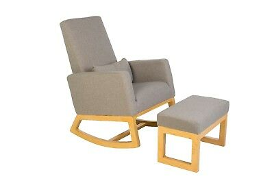 Nursery Rocker Gliding Chair and Ottoman in Timber & Dove Grey