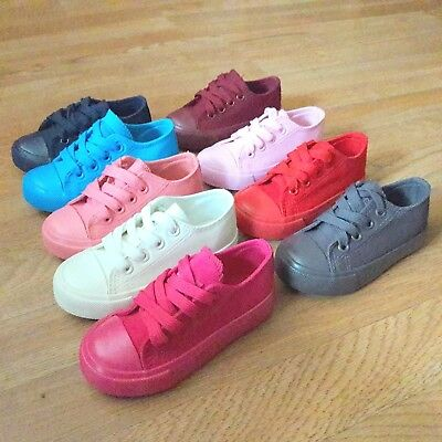 New Toddler girl boy laces up canvas sneakers tennis shoes 7-10