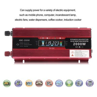 2000W Peak Modified Sine Wave LED Power Inverter DC 12V to AC 110V Car Converter