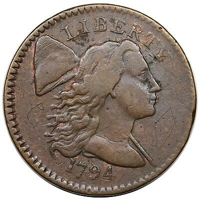 1794 Liberty Cap Large Cent, rare No Fraction Bar, S-64, R.5, F-VF detail