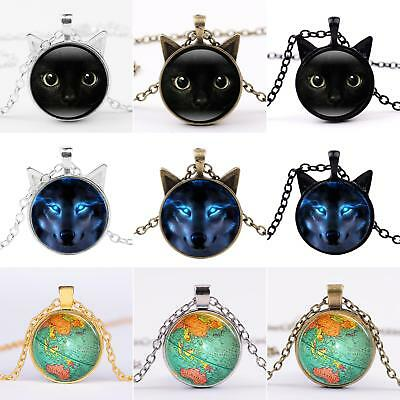 Black Cat Face Sweater Chain Women Vintage Cabochon Glass Pendant Necklace Advan