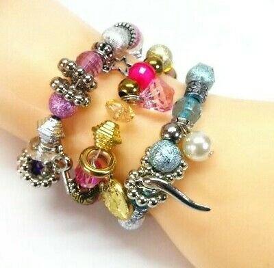 6PCS Charms Bracelets Creativity Kits with 130+ Beads Design Your Own Bracelets