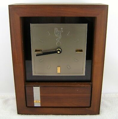 """Jostens Walnut Shelf Mantle Wall Clock MCM Recognition AT&T 13"""" x 10"""" WORKING"""