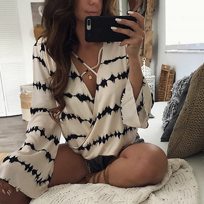 Fashion Womens Ladies Long Sleeve Loose Blouse Summer V Neck Casual T-Shirt Tops