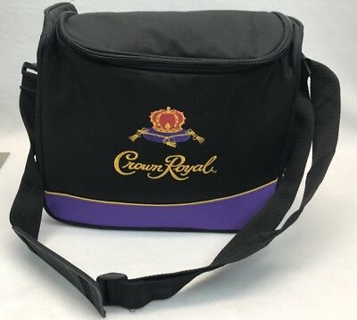 CROWN ROYAL WHISKEY Soft Cooler Bag Strap Beautiful Logo Black Purple Insulated