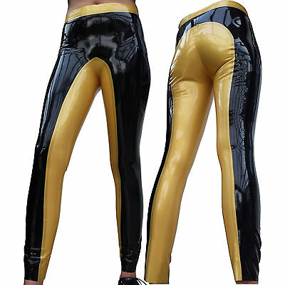Enge Latex Reiterhose, Latex Leggings, Reitleggings schwarz/gold Gr.L