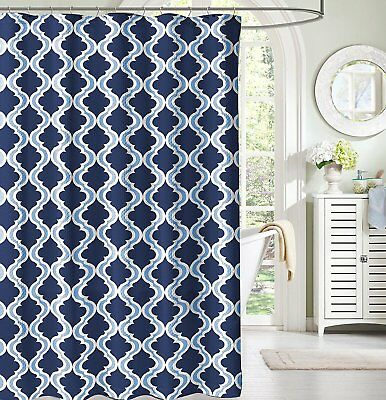 NAVY AND LIGHT Blue White Moroccan Fabric Shower Curtain: Crestlake ...