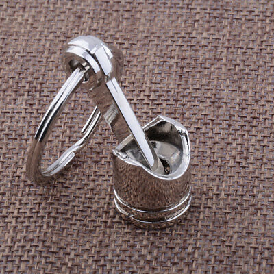 Hot Engine Auto Car Part Silver Metal Piston Alloy Keychain Keyring Keyfob New