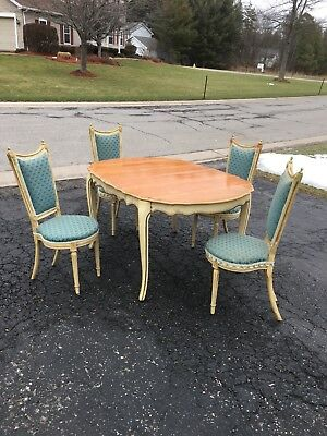 Vintage Mid Century French Provincial Table And 4 Chairs