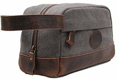 d51d4124bf8 Mens Toiletry Dopp Kit Travel Bag Leather Canvas Hygiene Zippered Wash Case
