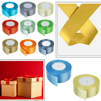 25 Meters Double Sided Faced Satin Ribbons for Arts & Crafts Decor in 24 Colours