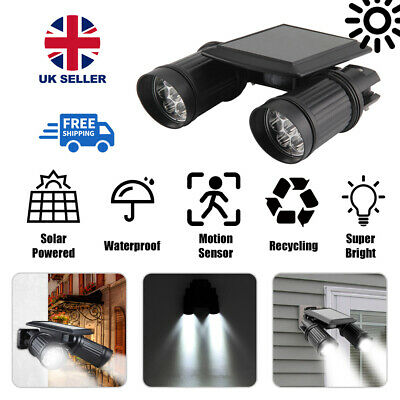 Dual Head LED Solar PIR Motion Sensor Security Light Spotlight Floodlight Lamp