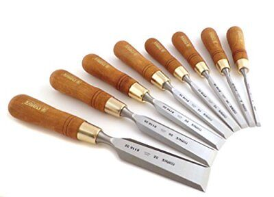 "Premium 8 Pieces Set 6 1/4"" 8 5/16"" mm Chisels With Hornbeam Handles Narex"