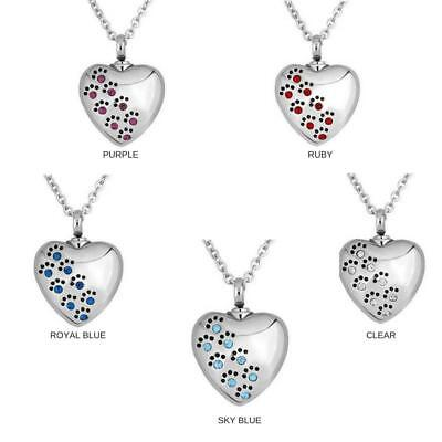 Dog cat paw crystal heart memorial cremation urn necklace pendant