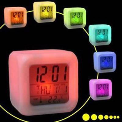 Digital Electric LCD Clock 7 LED Color Night Glow Desk Gadget Alarm Thermometer