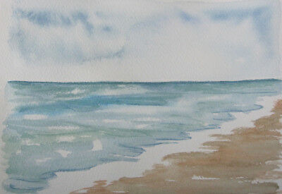 HAND painted WATERCOLOUR artist PICTURE card OCEAN blue BROWN 20 x 14 cm CRAFT