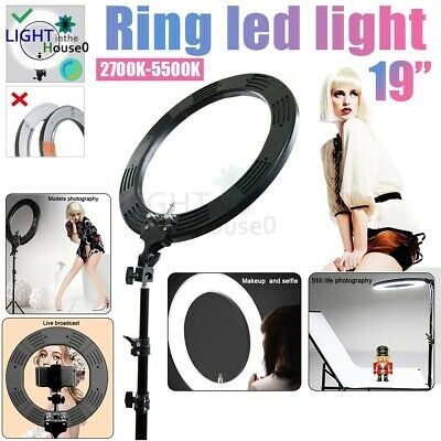"""19""""5500K Dimmable Diva LED Ring Light Diffuser Mirror Stand Make Up Studio Video"""