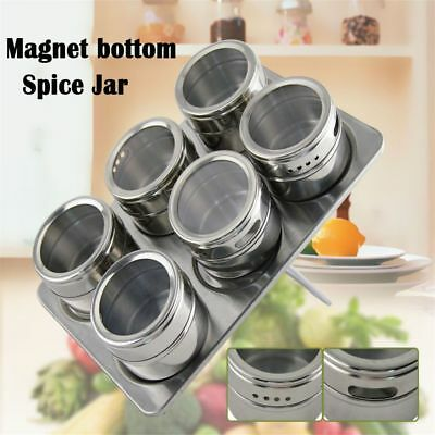 Kitchen Storage Spice Jars Stainless Steel Flavoring Container Magnetic Tins