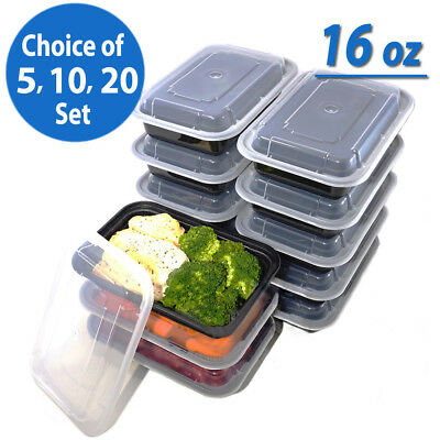 AU Meal Prep 16oz Food Containers Lids Reusable Microwavable Plastic Lunch Box