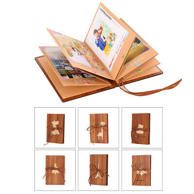 DIY Scrapbook Vintage Photo Album Wooden Picture Photograph Book Holder 11*17cm