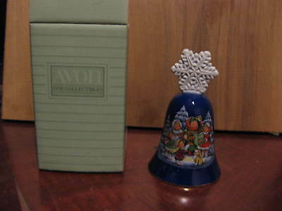 "Avon 1987 Christmas bell 5"" tall  1987 Porcelain Snowflake handle Vintage"