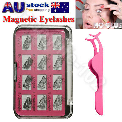 3 Second 12Pcs 3D Magnetic False Eyelashes Natural Eye Lashes Extension &Tweezer