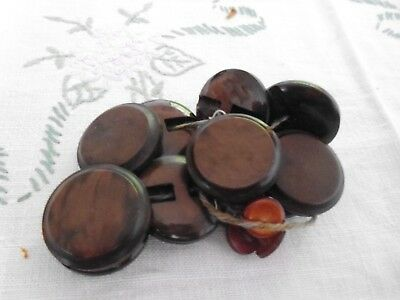Lot of 10 large vintage  buttons 2.5cm , plus 7 small pearlised buttons 1 cm