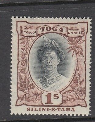 TONGA 1922 1s black and red-brown SG63b Queen Salote - Unmounted mint