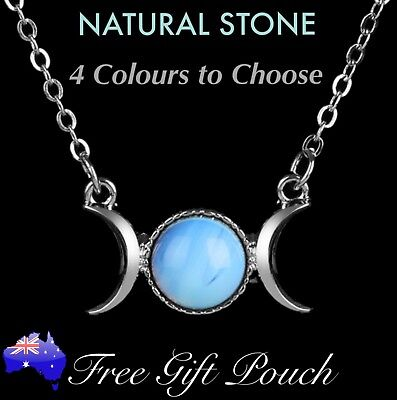 Triple Moon Goddess Natural Stone Pendant Silver Necklace Witch Wicca Magic Gift