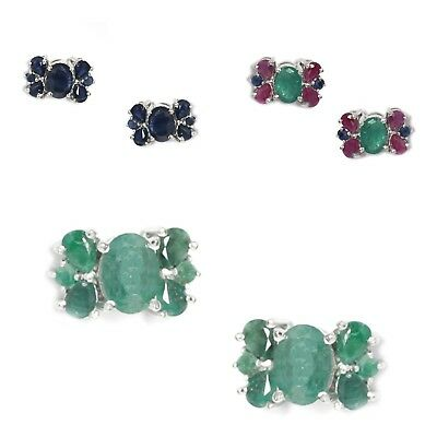 Emerald, Ruby, Sapphire Gemstone 925 Silver Butterfly Stud Earrings Fine Jewelry