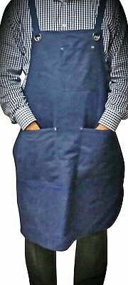 ProAprons - Heavy Duty Waxed Canvas Work Apron with Tool Pockets Blue Straps & M
