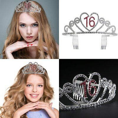 Happy Birthday Tiara Sweet 16Th Rhinestone Crystal Crown Party Accessories Girls