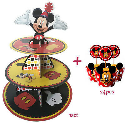 Kids Birthday Party Supplies Mickey Mouse Cupcake Stand 24 Pcs Wrappers