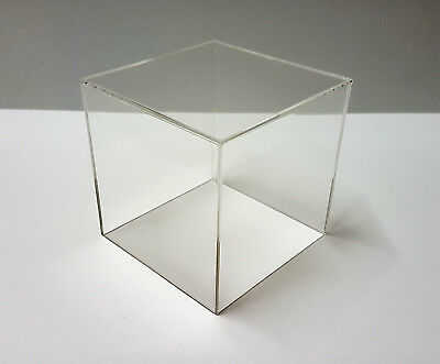 Acrylic Cube Display Stand 100mm Square 5 Sided Box Perspex  Case Shop Holder