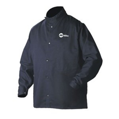 Welding Jacket, Navy, Cotton/Nylon, 2XL
